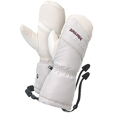 The Women's Warmest Mitt by Marmot. Warm and durable, this cold-weather marvel Uses the water shedding, breathable qualities of MemBrain fabric to block wind and water. Inside, Prima Loft One synthetic down Insulation retains heat without excessive bulk. The DriClime lining wicks away moisture, to keep hands dry and comfortable through long tough winter days. Features of the Marmot Women's Warmest Mitt Marmot MemBrain Waterproof / Breathable Insert Falcon Grip Gauntlet Quickdraw Nose wipe Primaloft Insulation Safety Leash Wrist Strap Zipper Heater Pocket - $99.95
