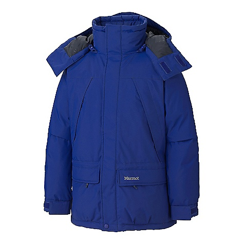 The Men's Yukon JR Classic Parka by Marmot. Just like the regular Yukon Classic but sized for the young man, 13 and older. 650 fill goose down at its core and the water shedding Performance of Marmot MemBrain means you'll stay warm and dry when it's cold and wet. Features of the Marmot Men's Yukon JR Classic Parka Junior Sizing - Designed for the young man-13 and older Marmot MemBrain Waterproof/Breathable Fabric Zip-Off Down-Filled Hood Handwarmer Pockets with Zip and Flap Closures Chest Pockets with Zip and Flaps Closures Flash Pocket Inside Zip Pocket Powder Skirt Adjustable Collar Cord Adjustable Velcro/Elastic Cuffs Elastic Draw Cord Hem Angel-Wing Movement - $116.99
