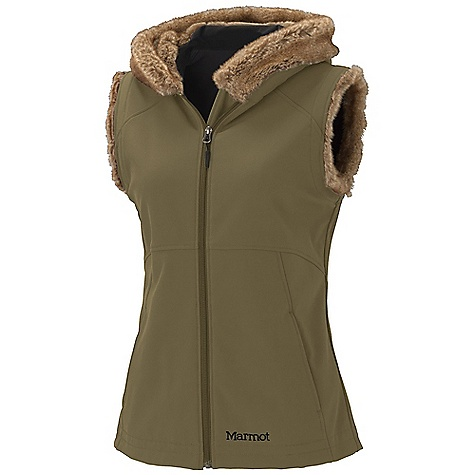 Free Shipping. Marmot Women's Furlong Vest DECENT FEATURES of the Marmot Women's Furlong Vest Marmot M2 Softshell Wind Resistant, Water Repellent and Breathable Attached Faux Fur Lined Hood Attached Hood Zippered Handwarmer Pockets Inside Zip Pocket The SPECS Weight: 1 lb 6 oz / 623.7 g Center Back Length: 25in. Fit: Regular Softshell Bonded 85% Nylon 15% Elastane Stretch 9.6 oz/yd 100% Modacrylic Faux Fur 15 oz/yd - $134.95