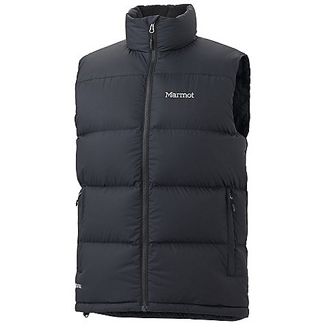 On Sale. Free Shipping. Marmot Men's Guides Down Vest DECENT FEATURES of the Marmot Men's Guides Down Vest Zippered Hand warmer Pockets Wind Flap Behind Front Zipper DriClime Lined Chin Guard Elastic Draw Cord Hem The SPECS Weight: 15.2 oz / 430.9 g Center Back Length: 27.5in. Fit: Regular Material: 100% Polyester Ripstop DWR 1.6 oz/yd - $96.99