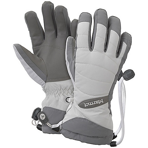 Free Shipping. Marmot Women's Moraine Glove DECENT FEATURES of the Marmot Women's Moraine Glove Marmot MemBrain Waterproof / Breathable Insert Dri-Clime Bi-Component Wicking Lining Internal Heater Pocket Gauntlet Quickdraw Falcon Grip Nose wipe Safety Leash The SPECS Weight: 6.2 oz / 175.8 g Reinforcement: Polyurethane 0.7mm Lining: High Loft Fleece for Increased Warmth and Comfort Insulation: Thermal R Glove Insert: MemBrain Glove Insert - Waterproof, Breathable and Windproof 320d 100% Nylon 3.7 oz/yd - $54.95