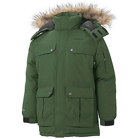 On Sale. Free Shipping. Marmot Men's Dawson Parka DECENT FEATURES of the Marmot Men's Dawson Parka Marmot MemBrain 2 Layer Waterproof/ Breathable Fabric Zip-off Down Filled Hood with Removable Fur Ruff Cargo Pockets with Hand warmer Pockets Behind Chest Pocket with Zip Closures Zippered Sleeve Pocket Adjustable Velcro/Elastic Cuffs Draw cord Waist Inside Mesh Pocket Inside Mobile Office Pocket Inside Zip Pocket DriClime Lined Chin Guard Elastic Draw Cord Hem Angel-Wing Movement The SPECS Weight: 3 lbs 6.5oz / 1545g Center Back Length: 33.5in. Fit: Relaxed Material: MemBrain10 2L 100% Nylon 4.0 oz/yd - $355.99