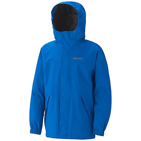 Free Shipping. Marmot Boys' Storm Shield Jacket DECENT FEATURES of the Marmot Boys' Storm Shield Jacket 2L PreCip Waterproof/Breathable Fabric 100% Seam Taped Fully Lined with Taffeta Zippered Hand Pockets Double Storm Flap Over Zipper with Snap/Velcro Closure The SPECS Weight: 12 oz / 340.2 g Material: PreCip 100%, Nylon 4.6 oz/yd Center Back Length: 22.75in. Fit: Regular - $64.95