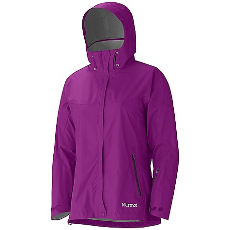 On Sale. Free Shipping. Marmot Women's Strato Jacket DECENT FEATURES of the Marmot Women's Strato Jacket Marmot MemBrain Strata Waterproof/Breathable Fabric 100% Seam Taped Attached Adjustable Hood that Rolls Into Collar PitZips Handwarmer Pockets with Water Resistant Zipper Sleeve Pocket with Water-Resistant Zipper Dri-Clime Lined Cuffs with Adjustable Velcro Tabs Dri-Clime Lined Collar and Chin Guard Elastic Draw Cord Hem Angel-Wing Movement The SPECS Weight: 12.8 oz / 362.9 g Center Back Length: 27.5in. Fit: Regular MemBrain Strata 100% Nylon Ripstop 3.0 oz/yd - $111.99