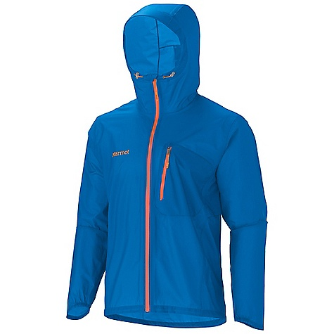 On Sale. Free Shipping. Marmot Men's Essence Jacket DECENT FEATURES of the Marmot Men's Essence Jacket Superlight 12 Denier Marmot MemBrain 2.5 Waterproof/Breathable Fabric Micro-Stitched and 100% Seam Taped Attached Adjustable Hood with Laminated Wire Brim Water Resistant Front Zippers Chest Pocket with Water-Resistant Zipper Integrated Cooling Vents Asymmetrical Cuff with Half Elastic Reflective Logos Elastic Draw Cord Hem Angel-Wing Movement The SPECS Weight: 6 oz / 170.1 g Material: MemBrain Strata 100% Nylon Ripstop 1.6 oz/yd Center Back Length: 28in. Fit: Athletic - $109.99