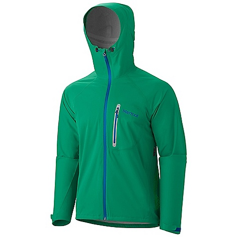 On Sale. Free Shipping. Marmot Men's Hyper Jacket DECENT FEATURES of the Marmot Men's Hyper Jacket Marmot Mem Brain 2.5 Waterproof/Breathable Fabric Micro-Stitched and 100% Seam Taped Attached Hood Water Resistant Front Zipper Chest Pocket with Water-Resistant Zipper Hand Pockets with Concealed Zippers Stretch Anatomic Articulation Collar Cord Asymmetric Cuffs with Velcro Adjustment Reflective Logos Elastic Draw Cord Hem Angel-Wing Movement The SPECS Weight: 11.8 oz / 334.5 g Center Back Length: 29in. Fit: Athletic Fit Material: Mem Brain Strata 100% Nylon Stretch 1.6 oz/yd - $138.99