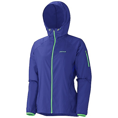 Camp and Hike Free Shipping. Marmot Women's Trail Wind Hoody DECENT FEATURES of the Marmot Women's Trail Wind Hoody Wind Resistant, Water Repellent, and Breathable Ultra Light Construction Adjustable Attached Hood Zippered Sleeve Pocket Active Venting Lycra Bound Cuffs Reflective Logos Elastic Draw Cord Hem Angel-Wing Movement Sized Specifically for Women The SPECS Weight: 4.1 oz / 116.2 g Material: 100% Polyester DWR 1.5 oz/yd Center Back Length: 25.75in. Fit: Regular - $79.95