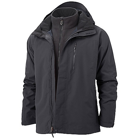 Free Shipping. Marmot Men's Ridgetop Component Jacket DECENT FEATURES of the Marmot Men's Ridgetop Component Jacket Marmot MemBrain Waterproof/Breathable Fabric 100% Seam Taped Removable Storm Hood with Laminated Brim PitZips Chest Pocket with Water-resistant Zipper Zippered Hand Pockets Internal Zip Pocket Elastic Draw Cord Hem Dri-Clime Lined Chin Guard Removable 200wt Fleece Liner Angel-Wing Movement The SPECS Weight: 3 lbs 0.1 oz / 1363.6 g Center Back Length: 29in. Fit: Regular MemBrain 10 2L 100% Nylon Plain Weave 4.1 oz/yd 100% Polyester Double Velour Fleece - $284.95