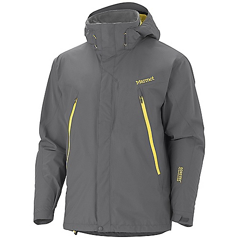 Free Shipping. Marmot Men's Cervino Jacket DECENT FEATURES of the Marmot Men's Cervino Jacket Gore-Tex Fabric. Guaranteed to Keep You Dry 100% seam taped 2-layer construction Zip-Off Storm Hood with Laminated Brim Chest Pocket with Water Resistant Zip Zippered Handwarmer Pockets Sleeve Pocket with Water-resistant Zipper PitZips Zip-Off Powder Skirt Zippin Compatible Internal Zippered Sunglass Pocket Paneled Mesh Lining Elastic Draw Cord Hem Dri-Clime Lined Collar and Chin Guard Adjustable Velcro Cuffs Angel-Wing Movement The SPECS Weight: 1 lb 12.2 oz / 799.5 g Center Back Length: 30in. Fit: Regular Gore-Tex Products 2L 100% Polyester 3.4 oz/yd - $324.95