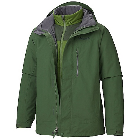 Free Shipping. Marmot Men's Bastione Component Jacket DECENT FEATURES of the Marmot Men's Bastione Component Jacket Marmot MemBrain Waterproof/Breathable Fabric 100% seam taped 2-layer construction Removable Storm Hood with Laminated Brim PitZips Chest Pocket with Water-resistant Zipper Zippered Hand Pockets Adjustable Velcro Cuffs Removable Thermal R Liner Jacket Internal Zippered Media Pocket Dri-Clime Lined Collar Elastic Draw Cord Hem The SPECS Weight: 3 lbs 1.6 oz / 1406.1 g Center Back Length: 29in. Fit: Regular MemBrain 10 2L 100% Nylon 4.6 oz/yd - $299.95