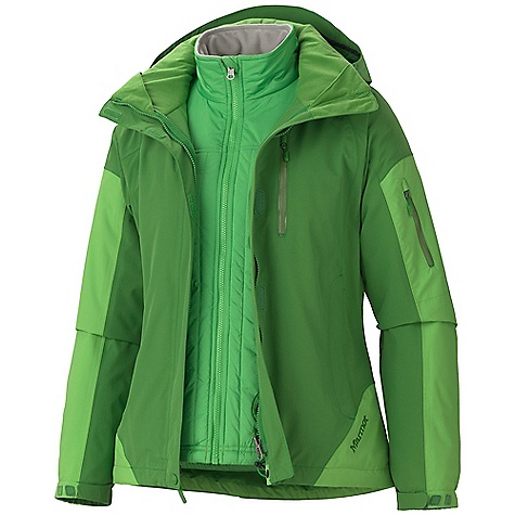On Sale. Free Shipping. Marmot Women's Tamarack Component Jacket DECENT FEATURES of the Marmot Women's Tamarack Component Jacket Marmot MemBrain Waterproof/Breathable Fabric Micro-stitched and 100% seam taped 2-Layer construction Zip-off Storm Hood with Laminated Brim PitZips Water Resistant Zip Chest Pocket Water Resistant Sleeve Pocket Zippered Handwarmer Pockets Reinforced Elbow Removable Thermal R Liner Jacket Gripper Elastic Powder Skirt Internal Zip Mesh Storage Pocket HD Brushed Tricot Collar and Shoulder Lining Elastic Draw Cord Hem DriClime Lined Chin Guard Angel-Wing Movement Water and Wind Resistant Stretch Shell Fabric The SPECS Weight: 3lbs 2 oz / 1417.5 g Material: MemBrain10 2L 100% Nylon 5.0 oz/yd, MemBrain 2L 100% Nylon 4.0 oz/yd, 100% Polyester DWR 1.8 oz/yd (Liner) Center Back Length: 27.5in. Fit: Regular - $210.99