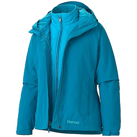 On Sale. Free Shipping. Marmot Women's Intervale Component Jacket DECENT FEATURES of the Marmot Women's Intervale Component Jacket Marmot MemBrain Waterproof/Breathable Fabric 100% Seam Taped Removable Storm Hood with Laminated Brim PitZips Zippered Hand Pockets Internal Zip Pocket Elastic Draw Cord Hem DriClime Lined Chin Guard Removable Thermal R Liner Jacket Angel-Wing Movement The SPECS Weight: 3lbs 0.7 oz / 1380.6 g Material: MemBrain10 2L 100% Nylon 5.0 oz/yd, 100% Polyester DWR 1.8 oz/yd (Liner) Center Back Length 27in. Fit: Regular - $193.99