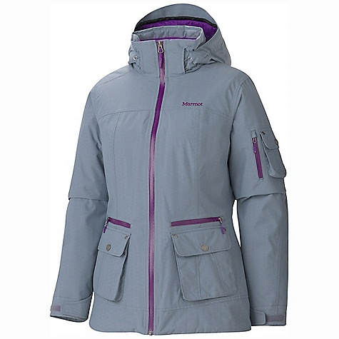Free Shipping. Marmot Women's Slopeside Jacket DECENT FEATURES of the Marmot Women's Slopeside Jacket Marmot MemBrain Waterproof/Breathable Fabric 100% seam taped 2-layer construction Zip-off Storm Hood with Laminated Brim Thermal R Insulation Exposed Water Resistant Center Front Zipper Handwarmer Pockets with Water Resistant Zipper Flapped Cargo Pocket Sleeve Pocket with Water-Resistant Zipper Flapped Sleeve Pockets Adjustable Velcro Cuff Zip-off Powder Skirt Zippered Sunglass Pocket Goggle pocket HD Brushed Tricot Collar and Shoulder Lining Elastic Draw Cord Hem Angel-Wing Movement The SPECS Weight: 2lbs 1.1 oz / 938.4 g Material: MemBrain 10 2L 100% Nylon 3.4 oz/yd Center Back Length: 27.75in. Fit: Regular - $279.95