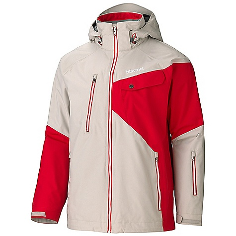 Free Shipping. Marmot Men's Mantra Jacket DECENT FEATURES of the Marmot Men's Mantra Jacket Marmot MemBrain Waterproof/Breathable Fabric 100% Seam taped 2-layer construction Zip-off Storm Hood with Laminated Brim Exposed Water Resistant Center Front Zipper Chest Pocket with Water-Resistant Zipper Flapped Chest Pockets Hand warmer Pockets with Water Resistant Zipper Waist Pass Pocket with Water Resistant Zip PitZips Zip-off Powder Skirt Zippered Sunglass Pocket Mesh Gear Pocket Mesh Goggle Pocket Interior Media Pocket HD Brushed Tricot Collar and Shoulder Lining Elastic Draw Cord Hem DriClime Lined Collar and Chin Guard Adjustable Velcro Cuff Angel-Wing Movement The SPECS Weight: 2 lbs 1.2 oz / 941.2 g Center Back Length: 30in. Material: MemBrain 2L 100% Nylon 5.0 oz/yd - $284.95