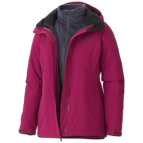 On Sale. Free Shipping. Marmot Women's Cosset Component Jacket DECENT FEATURES of the Marmot Women's Cosset Component Jacket Marmot MemBrain Waterproof/Breathable Fabric 100% Seam Taped Removable Storm Hood with Laminated Brim PitZips Zippered Hand Pockets Internal Zip Pocket Elastic Draw Cord Hem Dri-Clime Lined Chin Guard Removable 200wt Fleece Liner Angel-Wing Movement Removable High Loft Fleece Liner Jacket The SPECS Weight: 2 lbs 9.1 oz / 1165.2 g Center Back Length: 28in. Fit: Regular MemBrain 10 2L 100% Nylon 4.6 oz/yd 100% Polyester - $184.99