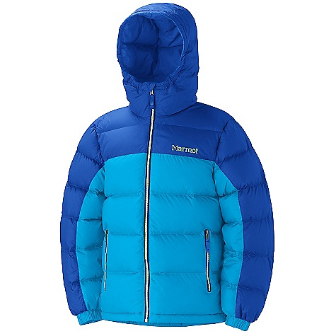 On Sale. Free Shipping. Marmot Boy's Guides Down Hoody DECENT FEATURES of the Marmot Boys' Guides Down Hoody 650 Goose Down Fill Power Zippered Hand warmer Pockets Elastic Cuffs Wind Flap Behind Front Zipper Angel-Wing Movement The SPECS Weight: 15.8 oz / 447.9 g Material: 100% Polyester Ripstop DWR 1.6 oz/yd Center Back Length: 21.25in. Fit: Regular - $107.99