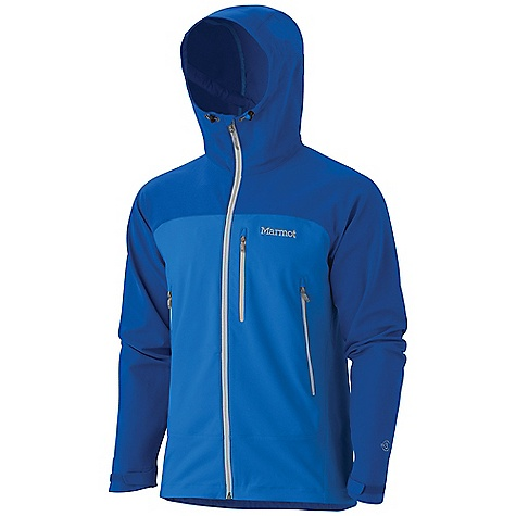 On Sale. Free Shipping. Marmot Men's Tempo Hoody DECENT FEATURES of the Marmot Men's Tempo Hoody Marmot M3 Softshell Water Repellent and Breathable Attached Adjustable Hood Zippered Chest Pocket with Headphone Port Zippered Hand Pockets Adjustable Velcro Cuff Interior Zippered Pocket Elastic Draw Cord Hem Angel-Wing Movement The SPECS Weight: 1 lb 4.8 oz / 589.7 g Material: Softshell Double Weave 90% Polyester 10% Elastane Stretch 7.3 oz/yd Center Back Length: 29in. Fit: Regular - $106.99