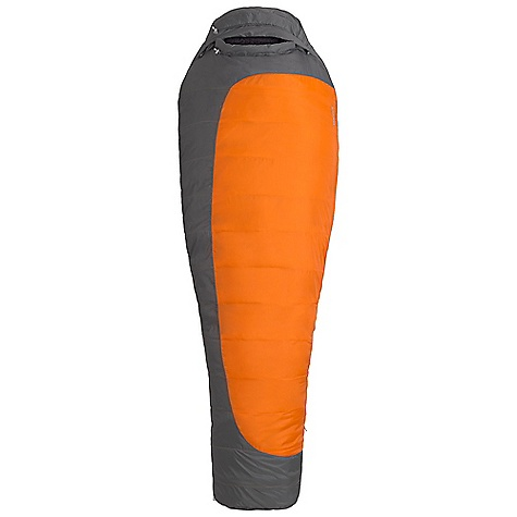 Camp and Hike The Marmot Trestles 0F Sleeping Bag is a synthetic sleeping bag for winter backpacking. The 100% polyester fabric is stuffed with SpiraFil High loft Insulation for a durable sleeping bag you can count on in cold, wet conditions. The Wave Construction allows the Insulation to loft up, without weighing the bag down. A durable water repellent coating on the outside fabric provides additional water resistance, super handy when waking up with condensation inside your tent. Available in left or right zip, the Trestles has a full length zipper with a draft tube that won't snag on the two way zipper sliders. Cinch the hood down with the 'Feely' draw cords (super easy to find in the dark) and snuggle into the insulated collar for a toasty night's sleep. Features of the Marmot Trestles 0 F Sleeping Bag EN Tested SpiraFil High Loft Insulation Dual Zippers Insulated Collar with easy Access Cord Wave Construction Classic trapezoidal Foot Box Compression Stuff Sack in.Feelyin. Drawcords Hood Drawcord Second Side Zip Snagless Draft tube Stash Pocket Two Hang Loops Two way Zipper Sliders Velcro-free Face Muff Zipper Guards Fold-Down Second Zipper Provides Easy Access - $111.99