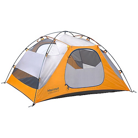 Camp and Hike Free Shipping. Marmot Limelight 4 Person Tent DECENT FEATURES of the Marmot Limelight 4 Person Tent Gear Loft and Footprint Included DAC Press-Fit Poles Full Coverage Fly Two Doors / Two Vestibules Window Weld Bare Bones Setup Catenary Cut Floor Jingle-Free Nylon Zipper Pulls Light-Reflective Points Multiple Pockets Snag-Free Zipper Flap Velcro Weld The SPECS Capacity: 4 Person Floor Area: 53 square feet / 4.9 square meter Minimum Weight: 8 lbs 4.88 oz / 3766 g Pack Weight: 9 lbs 0.45 oz / 4094 g Dimension: (H x W x L): 50 x 82 x 93in. / 127 x 208 x 236 cm Vestibule Area: 16.05 square feet / 1.5 square meter, 16.05 square feet / 1.5 square meter Packed Size: 27 x 9in. / 68.6 x 22.9 cm Number/Pole Type: 4 / DAC Press-Fit 9.5 mm Fly: 68d 100% Polyester Ripstop 1800mm, W/R, F/R Canopy: 68d 100% Polyester Ripstop,F/R / 40d 100% Polyester No-See-Um Mesh F/R Floor: 70d 100% Nylon PU 3000mm W/R, F/R - $368.95