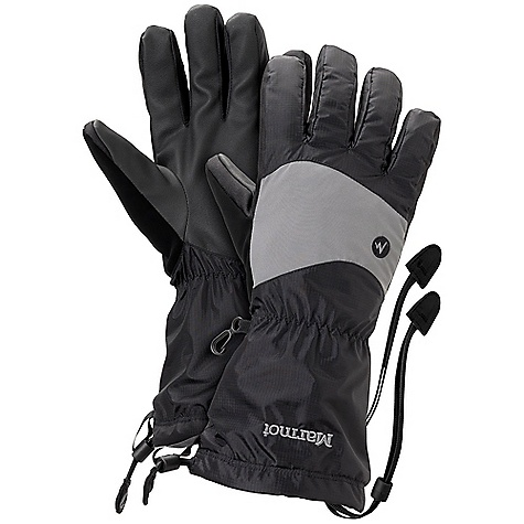Marmot PreCip Shell Glove DECENT FEATURES of the Marmot Streamline Shell Glove Marmot MemBrain Waterproof / Breathable Insert Dri-Clime Bi-Component Wicking Lining Sized to Fit Over Power Stretch Glove Falcon Grip Packable Gauntlet Quickdraw Nose wipe Safety Leash The SPECS Weight: 4.2 oz / 119.1 g Reinforcement: Polyurethane 0.7mm Lining: Dri-Clime 3-Dimentional Wicking Lining Glove Insert: MemBrain Glove Insert - Waterproof, Breathable and Windproof MemBrainStrata 100% Nylon Ripstop Stretch 2.8 oz/yd PreCip 2L 100% Nylon 2.8 oz/yd - $44.95