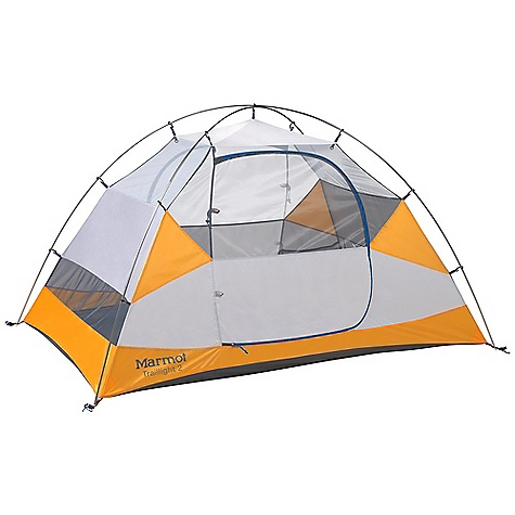 Camp and Hike On Sale. Free Shipping. Marmot Traillight 2 Person Tent DECENT FEATURES of the Marmot Traillight 2 Person Tent DAC Press-Fit Poles Two D Shaped Doors Full Coverage Fly Center Zip Front Vestibule Catenary Cut Floor Snag-Free Zipper Flap Jingle-Free Nylon Zipper Pulls Light-Reflective Points The SPECS Capacity: 2 Person Minimum Weight: 4 lbs 14 oz / 2208 g Maximum Weight: 5 lbs 7 oz / 2454 g Dimension: 42 x 54 x 88in. / 107 x 137 x 224 cm Floor Area: 33 square feet / 3.1 square meter Vestibules: 1 Doors: 2 Vestibule Area: 5.4 square feet / 0.5 square meter, 2.8 square feet / 0.26 square meter Pack Size: 26 x 7in. / 66 x 17.8 cm Number / Pole Type: 2 / DAC Press-Fit 9.0mm Canopy Fabric: 40d 100% Polyester No-See-Um Mesh F/R, 68d 100% Polyester Ripstop, F/R Floor Fabric: 70d 100% Nylon PU 3000mm W/R, F/R Fly Fabric: 68d 100% Polyester Ripstop 1800mm, W/R, F/R - $168.99