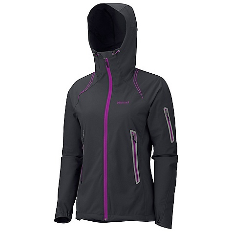 Camp and Hike On Sale. Free Shipping. Marmot Women's Vapor Trail Hoody DECENT FEATURES of the Marmot Women's Vapor Trail Hoody Marmot M2 Softshell Water Repellent and Breathable Attached Adjustable Hood Windproof Body and Sleeves Breathable Side Panels and Back Pack Pockets Zippered Sleeve Pocket Asymmetric Cuffs Interior Zipper Pocket with Headphone Port Elastic Draw Cord Hem Angel-Wing Movement The SPECS Weight: 13 oz / 368.5 g Center Back Length: 26.25in. Fit: Regular Fit Material: Softshell WPB 100% Polyester Stretch 4.4oz/ yd, Softshell Bonded 100% Polyester Stretch 3.8 oz/yd - $96.99