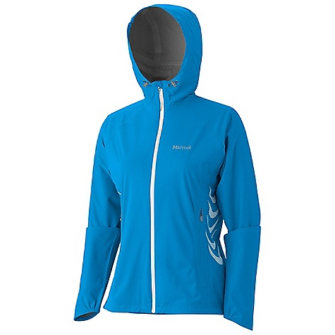 On Sale. Free Shipping. Marmot Women's Hyper Jacket DECENT FEATURES of the Marmot Women's Hyper Jacket Marmot MemBrain 2.5 Waterproof/ Breathable Fabric Micro-Stitched and 100% Seam Taped Attached Hood Water Resistant Front Zipper Hand Pockets with Concealed Zippers Core Vent with Concealed Zippers Stretch Anatomic Articulation Collar Cord Asymmetric Cuffs with Elastic Interior Media Port Reflective Logos Elastic Draw Cord Hem Angel-Wing Movement The SPECS Weight: 8.9 oz / 252.3 g Material: MemBrain Strata 100% Nylon Stretch 1.6 oz/yd Center Back Length: 25.25in. Fit: Athletic - $118.99