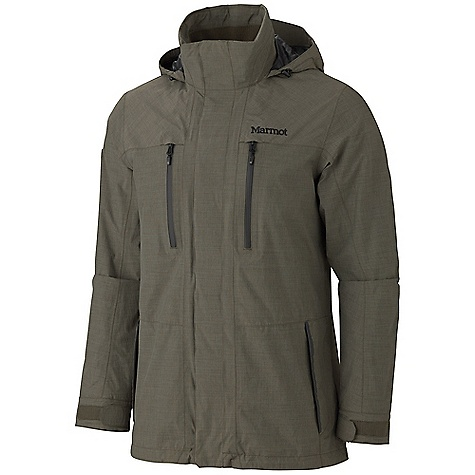 Free Shipping. Marmot Men's Camden Jacket DECENT FEATURES of the Marmot Men's Camden Jacket Marmot MemBrain Waterproof/Breathable Fabric 100% seam taped 2-layer construction Attached Hood Rolls Into Collar Chest Pockets with Water Resistant Zips Zip Hand Pockets Adjustable Velcro Cuff Internal Zippered Media Pocket Internal Welted Pocket Rib Knit Lined Collar Elastic Draw Cord Hem The SPECS Weight: 1 lb 8.2 oz / 686.1 g Material: MemBrain 2L 100% Nylon 2.7 oz/yd Center Back Length: 31in. Fit: Regular - $274.95