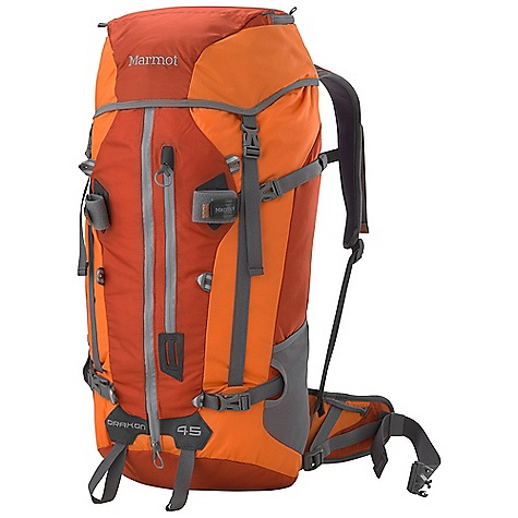 Climbing Free Shipping. Marmot Drakon 45 Pack DECENT FEATURES of the Marmot Drakon 45 Pack Removable Lid with Zippered Pocket and Key Clip Storm Collar with Top Compression Strap Hydration Sleeve with Hanging Zippered Pocket Removable Waist Belt with Gear Loop and Biner Sleeves Duffle Style Zippered Access to Main Compartment Integrated Vertical Rope Carry System Silicone Touch End Points on Webbing Removable Dynamic Flex Suspension Water Resistant YKK Zippers Front Vertical Zip Pocket Dual Ice Axe Loops Lid and Front Lash Points Molded Back Panel Stretch Mesh Water Bottle Pockets The SPECS Weight: 3 lbs 4.6 oz / 1492 g Volume: 2750 cubic inches / 45 liter Materials: 210d 100% Nylon Nail Head 420 d High Density Nylon Reinforcement: Double Layer 420 d High Density Nylon - $168.95