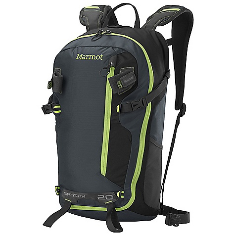 Climbing Free Shipping. Marmot Sphinx 20 Pack DECENT FEATURES of the Marmot Sphinx 20 Pack Large D-shaped Zipper Opening to Access Main Compartment Dual Internal Gear Loops for Quick Clip Organization Semi-Rigid Side and Bottom Panels Front Vertical Zip Pocket Hydration Sleeve with Hanging Zippered Pocket Dual Ice Axe Loops Removable Webbing Waist Belt Side Compression Straps Stretch Mesh Water Bottle Pockets Silicone Touch End Points on Webbing Molded Back Panel The SPECS Weight: 1 lb 10 oz / 730 g Volume: 1220 cubic inches / 20 liter Access: Panel Load Reinforcement: Double Layer 420d High Density Nylon 210d 100% Nylon Nail Head 420d High Density Nylon - $98.95