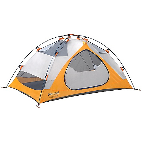 Camp and Hike Free Shipping. Marmot Limelight 2 Person Tent DECENT FEATURES of the Marmot Limelight 2 Person Tent Gear Loft and Footprint Included DAC Press-Fit Poles Full Coverage Fly Vestibule Window Weld Bare Bones Setup Catenary Cut Floor Jingle-Free Nylon Zipper Pulls Light-Reflective Points Multiple Pockets Snag-Free Zipper Flap The SPECS Capacity: 2 Person Floor Area: 32 square feet / 2.97 square meter Minimum Weight: 4 lbs 10 oz / 2097 g Pack Weight: 5 lbs / 2267 g Bare Bones Weight: 3 lbs 5 oz / 1506 g Dimension: (H x W x L): 41 x 54 x 88in. / 104 x 137 x 224 cm Vestibule Area: 9 square feet / 0.84 square meter Packed Size: 18 x 7in. / 45.7 x 17.8 cm Number/Pole Type: 3 / DAC Press-Fit 9.0mm Fly: 68d 100% Polyester Ripstop 1800mm, W/R, F/R Canopy: 68d 100% Polyester Ripstop,F/R / 40d 100% Polyester No-See-Um Mesh F/R Floor: 70d 100% Nylon PU 3000mm W/R, F/R - $218.95
