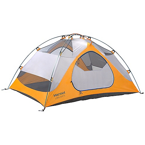 Camp and Hike Free Shipping. Marmot Limelight 3 Person Tent DECENT FEATURES of the Marmot Limelight 3 Person Tent Gear Loft and Footprint Included DAC Press-Fit Poles Full Coverage Fly Two Doors / Two Vestibules Window Weld Bare Bones Setup Catenary Cut Floor Jingle-Free Nylon Zipper Pulls Light-Reflective Points Multiple Pockets Snag-Free Zipper Flap Velcro Weld The SPECS Capacity: 3 Person Floor Area: 42.6 square feet / 4 square meter Minimum Weight: 5 lbs 15 oz / 2692 g Pack Weight: 6 lbs 11 oz / 3032 g Bare Bones Weight: 4 lbs 2 oz / 1884 g Dimension: (H x W x L): 46 x 66 x 93in. / 117 x 168 x 236 cm Vestibule Area: 10 square feet / 0.93 square meter, 10 square feet / 0.93 square meter Packed Size: 22 x 8in. / 56 x 20.3 cm Number/Pole Type: 3 / DAC Press-Fit 9.0mm Fly: 68d 100% Polyester Ripstop 1800mm, W/R, F/R Canopy: 68d 100% Polyester Ripstop,F/R / 40d 100% Polyester No-See-Um Mesh F/R Floor: 70d 100% Nylon PU 3000mm W/R, F/R - $278.95
