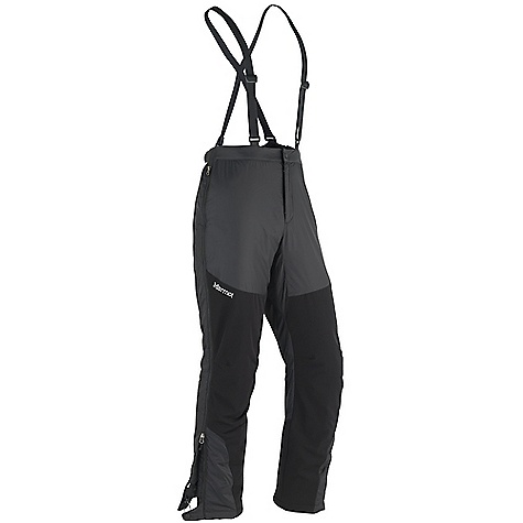 On Sale. Free Shipping. Marmot Men's Flurry Pant DECENT FEATURES of the Marmot Men's Flurry Pant Thermal R Eco Insulation Reinforced Seat, Knees and Ankles Full Side Zips Removable Adjustable Suspenders Zip Fly Gusseted Crotch Articulated Knees Leg Cuff Adjustment System The SPECS Weight: 1 lb 8 oz / 680.4 g Fit: Regular 100% Polyester with Marmot Defender DWR 1.7 oz/yd Softshell Double Weave: 64% Nylon, 20% Polyester, 16% Elastane Stretch 5.9 oz/yd - $134.99