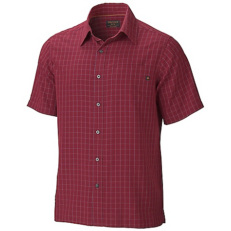 Fitness The Men's Eldridge Short Sleeve Shirt by Marmot. This appealing short sleeve is great for urban hikes and backyard barbeques, with its soft, sanded feel and UPF 30 rating. The straight hem hangs naturally and Features side vents for cooling. Choose from one of four vibrant colors. Features of the Marmot Men's Eldridge Short Sleeve Shirt Soft, Sanded, midweight Woven Fabric Ultraviolet Protection Factor (UPF) 20 Marmot UpCycle Product with Recycled Polyester Durable Flat Felled Seams with Contrast Interior Stitch Straight hem and Single Patch Pocket - $54.95