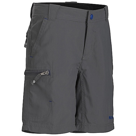 Marmot Boys' Cruz Short DECENT FEATURES of the Marmot Boys' Cruz Short Blue Sign Approved Fabric Lightweight, Packable, Breathable Performance Woven Fabric Ultraviolet Protection Factor (UPF) 30 Abrasion Resistant Nylon Fabric Quick-Drying and Wicking Durable Water-Resistant Finish (DWR) Secure Zip Back Pocket and Side Pocket DriClime Interior Waistband for Added Comfort The SPECS Weight: 4.1 oz / 116.2 g Material: 100% Nylon Plain Weave 3.0 oz/yd Fit: Regular Inseam: 7 1/2in. - $39.95