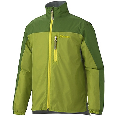 Marmot Boys' DriClime Windshirt DECENT FEATURES of the Marmot Boys' DriClime Windshirt Windproof, Water Resistant, and Breathable DriClime Bi-Component Wicking Lining Mesh Pit Vents Zippered Chest Pocket DriClime Lined Collar and Chin Guard Wind Flap Behind Front Zipper Elastic Cuffs Angel-Wing Movement The SPECS Weight: 6.2 oz / 175.8 g Center Back Length: 21.25in. Fit: Regular Fit Material: 100% Nylon Mini Ripstop DWR 1.6 oz/ yd (Liner) - $37.95