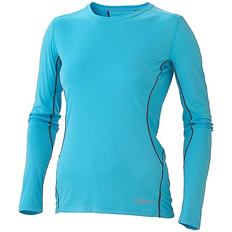 Camp and Hike Free Shipping. Marmot Women's Outlook Trail LS Top DECENT FEATURES of the Marmot Women's Outlook Trail Long Sleeve Top Lightweight, Breathable, Soft, High Gauge Performance Knit Fabric Ultraviolet Protection Factor (UPF) 50 Quick-Drying and Wicking Mesh Panel for Breath ability Flat-Locked Seams for Added Comfort Droptail Hem for Increase Coverage Tag-Free Neckline Scoop Neck Reflective Logos The SPECS Weight: 4.6 oz / 130.4 g Material: 100% Polyester Pique 3.2 oz/yd 100% Polyester High Gauge Knit Peached 3.5 oz/yd Fit: Semi-Fitted - $49.95