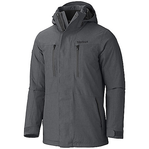 On Sale. Free Shipping. Marmot Men's Hampton Insulated Jacket DECENT FEATURES of the Marmot Men's Hampton Insulated Jacket Marmot MemBrain Waterproof/ Breathable Fabric 100% seam taped 2-layer construction UpCycle Fabric Zip-off Storm Hood with Laminated Brim Napoleon Chest Pockets with Water Resistant Zips Zippered Hand Pockets Internal Zippered Media Pocket Internal Welted Pocket Rib Knit Lined Collar Elastic Draw Cord Hem The SPECS Weight: 1 lb 9.4 oz / 720.1 g Center Back Length: 32in. Fit: Regular Material: MemBrain 2L 100% Nylon 2.7 oz/ yd - $243.99