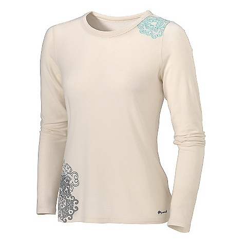 On Sale. Free Shipping. Marmot Women's Henna Long-Sleeved T-Shirt DECENT FEATURES of the Marmot Women's Henna Long-Sleeved T-Shirt Soft, Comfortable, Lightweight Knit Fabric Ultraviolet Protection Factor (UPF) 20 Stretch for Increased Mobility Crew Neck Novelty Embroidery and Screen Print Garment Washed for Soft Hand Tag-Free Neckline The SPECS Weight: 14.109 oz / 400 g Fit: Regular Fit Material: 95% Tencel Lyocell 5% Elastane 5.5 oz/yd - $34.99