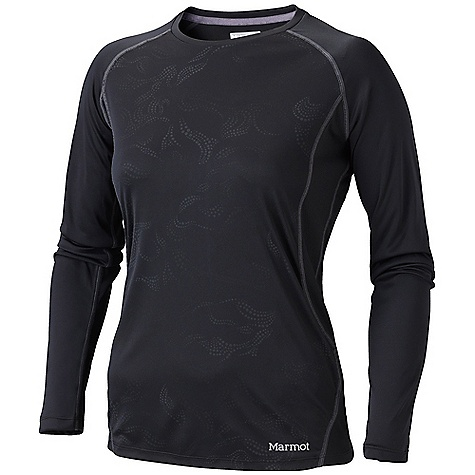 Marmot Women's Crystal Long Sleeve Tee DECENT FEATURES of the Marmot Women's Crystal Long Sleeve Tee Lightweight, Breathable, Quick-Drying Performance Knit Fabric Ultraviolet Protection Factor (UPF) 50 Flat-Locked Seams for Added Comfort Mesh Panels for Breathability Raglan Sleeve for Increased Range of Motion Tag-Free Neckline Crew Neck Reflective Logos The SPECS Weight: 7.05 oz / 199.9 g Fit: Semi-Fitted 100% Polyester 3.7oz/yd 100% Polyester Mesh 3.0 oz/yd - $41.95