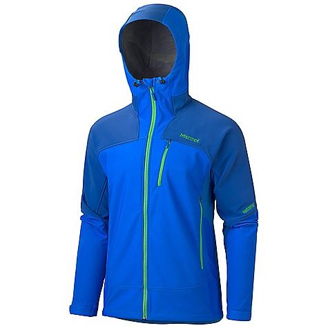 On Sale. Free Shipping. Marmot Men's Elementalist Jacket DECENT FEATURES of the Marmot Men's Elementalist Jacket Gore Windstopper Marmot M2 Soft-shell Windproof, Water Resistant, and Breathable Zonal Construction Attached Hood with Laminated Brim and Peripheral Cord Underarm Thermo Regulating Panels Pack Pockets Zippered Chest Pocket Interior Zip Pocket Adjustable Velcro Cuff Angel-Wing Movement The SPECS Weight: 1 lb 6 oz / 623.7 g Fit: Athletic Material: Windstopper Soft-Shell 100% Polyester 6.2 oz/yd, Windstopper Soft-Shell 85% Nylon, 15% Elastane 10.2 oz/yd, Soft-shell Double Weave 90% Polyester 10% Elastane Stretch 7.3 oz/yd - $208.99