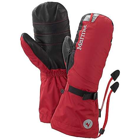 The Marmot 8000 Meter Mitt is a insulated mitt for High-altitude mountaineering. The exterior is a Gore-TEX Paclite; shell, providing 100% waterproof/breathable protection through the Snow or rain on the mountain. The shell has also been lined with PrimaLoft Insulation, adding warmth to the hands. The removable interior mitt Features 700 fill power goose down, which provides the bulk of the warmth from wrist to fingertip. The exterior palm is reinforced with Pittards; Armortan Leather, which provides excellent grip on your ice axes and other gear. Cinch down the gauntlet to keep Snow out and tackle the climb. Features of the Marmot 8000 Meter Mitt Gore-tex Paclite Guaranteed to Keep You Dry Removable 700+ FP Goose Down mitten Primaloft Insulation Carabiner Loop to Hang Gloves and Keep out the elements Wrist Strap and Gauntlet Drawcord to Keep Snow out Leather Reinforced Palm - $274.95