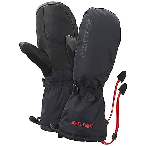 Features of the Marmot Expedition Mitt Marmot MemBrain waterproof/Breathable Fabric Primaloft Insulation Wrist Strap and Gauntlet Drawcord to Keep Snow out DriClime Bi-Component wicking Lining Reinforced Palm Safety Leash Nose wipe - $114.95