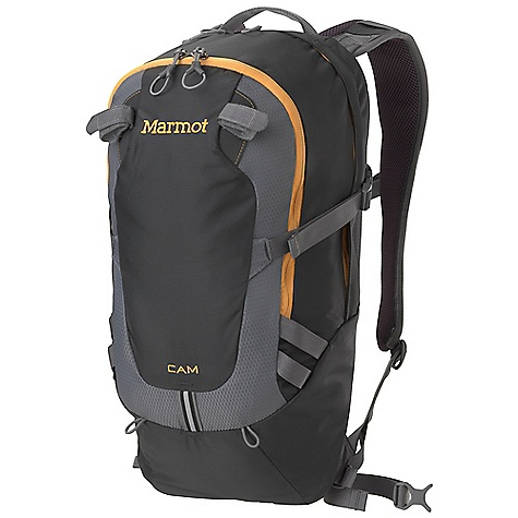 Climbing Free Shipping. Marmot Cam 15 Pack DECENT FEATURES of the Marmot Cam 15 Pack Extremely Durable 420d Oxford and 330d Dobby Weave Nylon Double Layered Bottom of Pack for Added Abrasion Resistance and Increased Durability Spacer Airmesh Back Panel and Shoulder Straps for Added Comfort and Breathability Padded Laptop Sleeve Fits Most 13in. Computers Internal Pocket Fits Most Tablets and E-Readers Clipping Points with Reflective Tape Internal Organizer Front Pocket with Key Clip Removable Trekking Pole System Hydration Port and Clip for Hanging Reservoir Removable Webbing Waist Belt Compression Straps to Evenly Distribute Load Silicone Touch End Points on Webbing The SPECS Weight: 1 lb 8.5 oz / 695 g Reinforcement: Double Layer 420d High Density Nylon Volume: 920 cubic inches / 15 liter Frame Sheet: HD Foam Access: Panel Load Hydration: Yes Material: 420d High Tenacity Nylon, 330d Dobby Nylon - $88.95