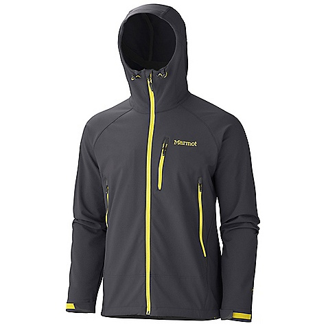 On Sale. Free Shipping. Marmot Men's Up Track Jacket DECENT FEATURES of the Marmot Men's Up Track Jacket Marmot M3 Soft-shell Wind Resistant, Water Repellent, and Breathable Attached Hood with Peripheral Cord Adjustment Pack Pockets Zippered Chest Pocket Interior Zippered Pocket Large Interior Mesh Skin Pocket Adjustable Velcro Cuff Elastic Draw Cord Hem DriClime Lined Chin Guard Angel-Wing Movement The SPECS Weight: 1 lb 4.8 oz / 589.7 g Center Back Length: 27.5in. Fit: Athletic Material: Soft-shell Double Weave 91% Nylon, 9% Elastane Stretch 7.1 oz/yd - $119.99