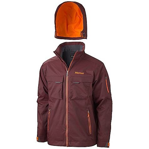 On Sale. Free Shipping. Marmot Men's Hard Charger Jacket DECENT FEATURES of the Marmot Men's Hard Charger Jacket Marmot MemBrain Waterproof/Breathable Fabric 100% Seam taped 2-layer construction Zip-off Storm Hood with Laminated Brim Exposed Water Resistant Center Front Zipper Flapped Chest Pocket Hand warmer Pockets with Water Resistant Zips Sleeve Pocket with Water-Resistant Zipper PitZips Powder Skirt Zippered Sunglass Pocket Mesh Goggle Pocket Elastic Draw Cord Hem DriClime Lined Collar Adjustable Velcro Cuffs Angel-Wing Movement The SPECS Weight: 1 lb 7 oz / 652 g Center Back Length: 30in. Fit: Regular Material: PreCip 2L 100% Nylon 5.2 oz/yd - $258.99