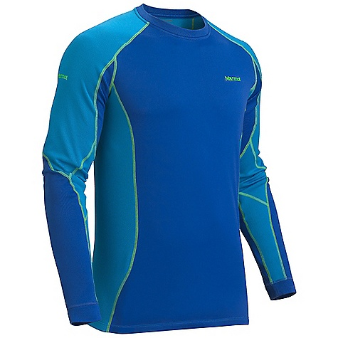 On Sale. Free Shipping. Marmot Men's Midweight Crew LS DECENT FEATURES of the Marmot Men's Midweight Crew Long Sleeve Polartec Power Dry with Cocona Performance Technology Marmot UpCycle Product with Recycled Polyester Cocona for Natural Odor Protection Quick-Drying and Wicking Stretch for Increased range of motion Flat-Locked Seams for Added Comfort Tag-Free Neckline The SPECS Weight: 7.6 oz / 215.5 g Material: PolartecPower Dry 96% Polyester (29% Cocona), 4% Elastane Midweight 4.2 oz/yd Center Back Length: 28.5in. Fit: Athletic - $43.99