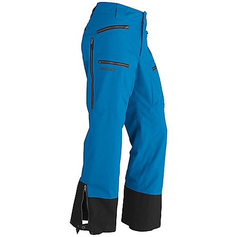 Free Shipping. Marmot Men's Freerider Pant DECENT FEATURES of the Marmot Men's Freerider Pant Gore-Tex Fabric. Guaranteed to Keep You Dry 100% seam taped 2-layer construction Zip-in Gasket Allows for Jacket and Pant Zip Together Integration Hand Pockets with Water Resistant Zipper Cargo Pocket with Water Resistant Zipper Back Pocket with Water Resistant Zipper Adjustable Snap Closure Waist with Fly Zip Leg Vents with W/R Zippers Ankle Zips with W/R Zippers Internal Gaiters with Gripper Elastic Articulated Knees Cordura Scuff Guard The SPECS Weight: 1 lb 14.8 oz / 873.2 g Fit: Loose Gore-Tex Pro Products 2L 100% Nylon 4.7 oz/yd - $394.95