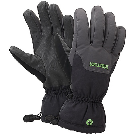 Marmot On-Piste Glove DECENT FEATURES of the Marmot On-Piste Glove Marmot MemBrain Waterproof/Breathable Insert Wrist Tightening Elastic and Gauntlet Drawcord to Keep Snow Out Falcon Grip Nose wipe The SPECS Weight: 5.5 oz / 156 g 320d 100% Nylon 3.7 oz/yd Reinforcement: GripTec Polyurethane Reinforcement Lining: Dri-Clime 3-Dimentional Wicking Lining Insulation: Thermal R Glove Insert: MemBrain Glove Insert - Waterproof, Breathable and Windproof - $44.95