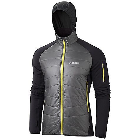 Free Shipping. Marmot Men's Alpinist Hybrid Jacket DECENT FEATURES of the Marmot Men's Alpinist Hybrid Jacket Primaloft One Insulation in the Front Polartec Power Stretch Pro Sleeves, Back and Hood Underarm Thermo Regulating Panels Elastic Bound Cuffs with Thumb Holes Packs into Pocket Elastic Draw Cord Hem Angel-Wing Movement The SPECS Weight: 15.4 oz / 436.6 g Center Back Length: 27.25in. Fit: Athletic 100% Nylon Double Rip 0.9 oz/ yd Polartec Power Stretch Pro 53% Polyester 38% Nylon 9% Elastane 7.2 oz/yd 65% Nylon 20% Polyester 15% Elastane Stretch 7.4 oz/ yd - $224.95